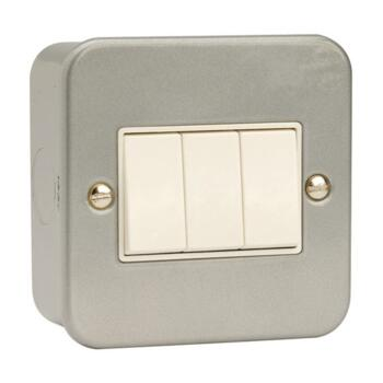 Metal Clad 2 Way Triple Light Switch - Metal Clad