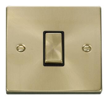 Satin Brass Light Switch - Single 1 Gang 2 Way - Black Interior
