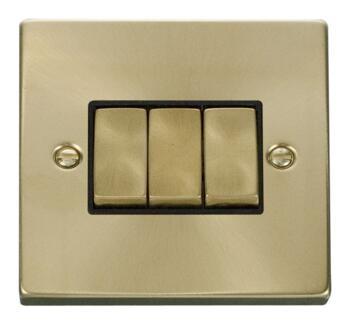 Satin Brass Light Switch - Triple 3 Gang 2 Way - Black Interior