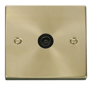 Satin Brass TV Aerial Co-Ax / Satellite Socket  - Black Interior TV