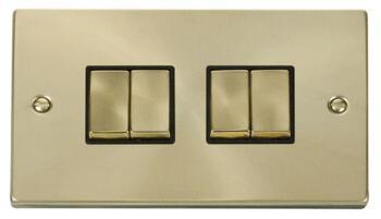 Satin Brass Light Switch - Quad 4 Gang 2 Way - Black Interior