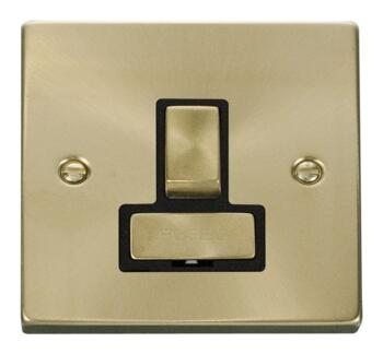 Satin Brass Switched Fused Spur 13A Ingot - Black Interior No Neon