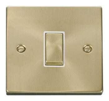 Satin Brass Intermediate Switch - 1 Gang - White Interior