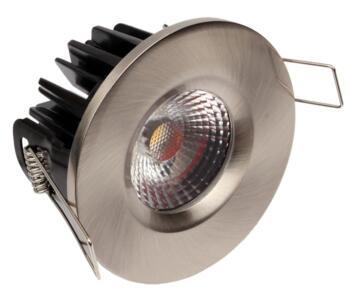 LED IP65 Fixed Shower/ Bath 8w/10w Downlight - Brushed Nickel - 10w