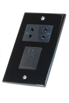 Slimline Black Nickel Shaver Socket  - 230/115v Dual Voltage