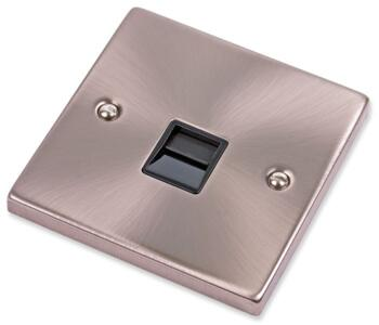 Satin Chrome Telephone Socket - Single  - Secondary With Black Interior