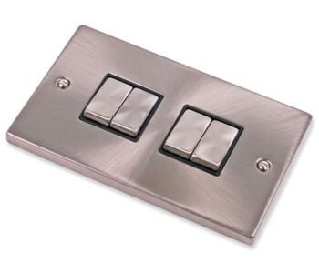 Satin Chrome Light Switch - Quad 4 Gang 2 Way - With Black Interior