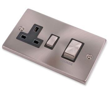 Satin Chrome Cooker Switch & Socket 45A Ingot - With Black Interior