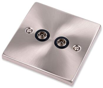 Satin Chrome Double TV Socket - Twin Co-ax Outlet - With Black Interior