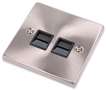 Satin Chrome Double Telephone Socket - Secondary - With Black Interior