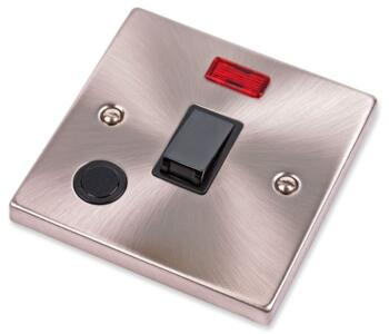 Satin Chrome 20A DP Switch & Neon - Flex Out - With Black Interior