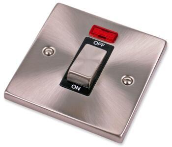 Satin Chrome 45A Cooker Isolator & Neon Ingot 1G - With Black Interior
