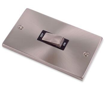 Satin Chrome 45A Cooker Isolator Switch Ingot 2G - With Black Interior