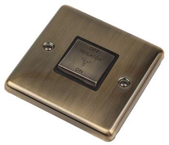 Antique Brass Fan Isolator Switch - Single