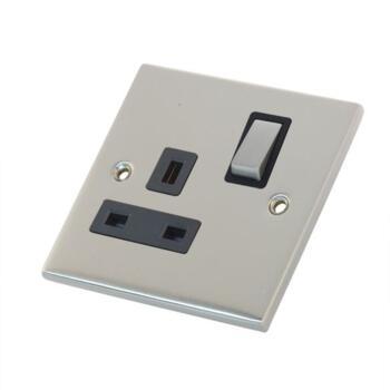 Slimline 13A Single Switched Socket - Satin Chrome - With Black Interior