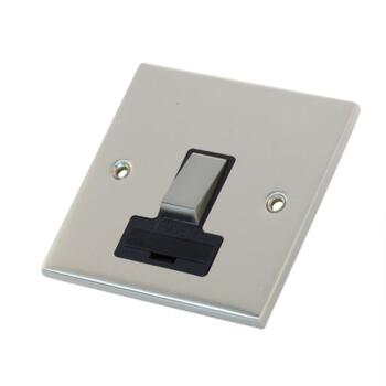 Slimline 13A Switched Fused Spur - Satin Chrome - With Black Interior