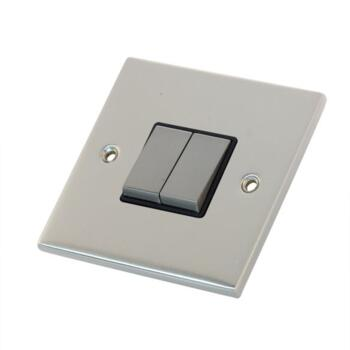 Slimline 2 Way Double Light Switch - Satin Chrome - With Black Interior