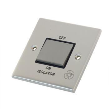 Slimline Fan Isolator Switch - Satin Chrome - With Black Interior