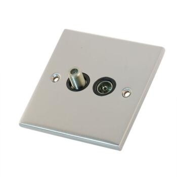 Slimline Satellite and TV Socket - Satin Chrome - With Black Interior