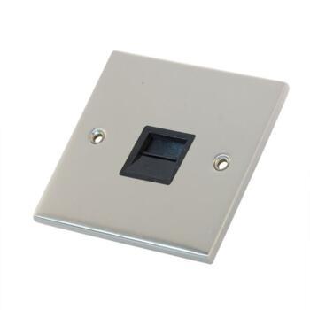 Slimline Single Telephone Socket Master-Sat Chrome - With Black Interior