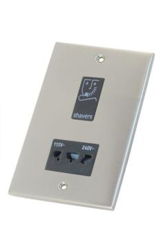 Slimline Shaver Socket - Satin Chrome - With Black Interior