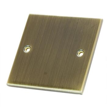 Slimline Antique Brass Blank Plate  - 1 Gang Single