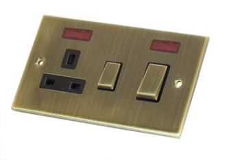 Slimline Antique Brass 45A Cooker Switch - With Neon