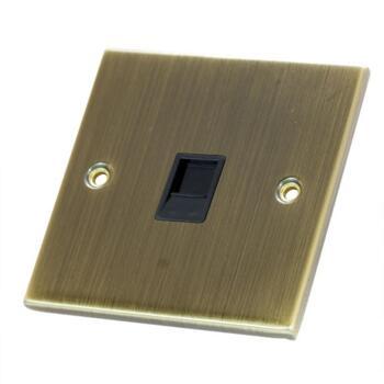 Slimline Antique Brass RJ45 Data Outlet Socket  - 1 Gang Single