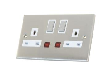 Slimline 13A Double Switched Socket-Neon- S Chrome - With White Interior