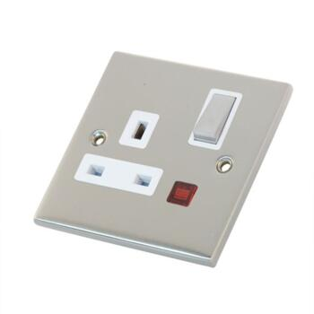 Slimline 13A Single Switched Socket-Neon- S Chrome - With White Interior
