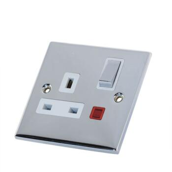 Slimline 13A Single Switched Socket -Neon-P/Chrome - With White Interior