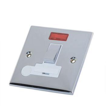 Slimline 13A Switch Fused Spur-Neon/Flex- P Chrome - With White Interior