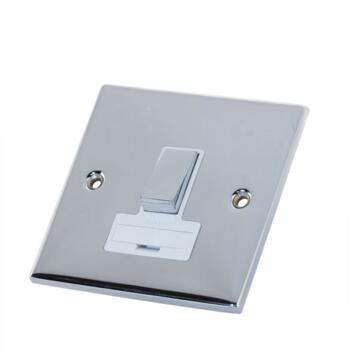 Slimline 13A Switched Fused Spur - P/Chrome - With White Interior