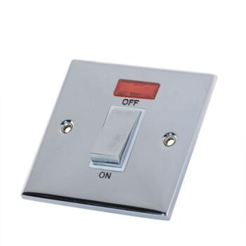 Slimline 45A 1 Gang DP Switch - Polished Chrome - White Interior With Neon