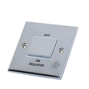 Slimline Fan Isolator Switch - P/Chrome - With White Interior