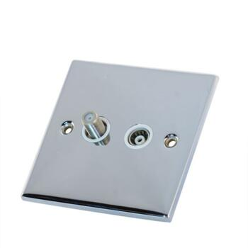 Slimline Satellite and TV Socket - P/Chrome - With White Interior