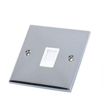 Slimline Single RJ45 Data Outlet Socket - P/Chrome - With White Interior