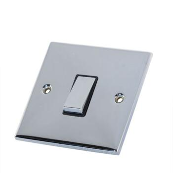Slimline 1 Gang 2 Way Light Switch - P/Chrome - With Black Interior