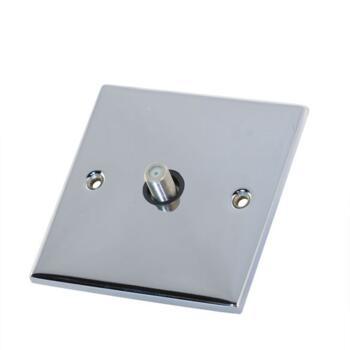 Slimline Single Satellite Socket - P/Chrome - With Black Interior