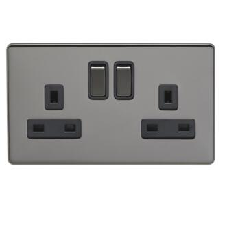 Screwless Black Nickel 13A Switched Socket - 2 Gang Double