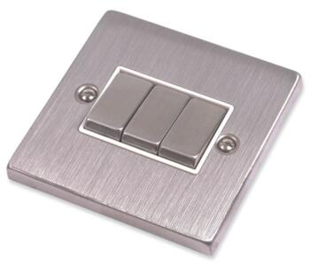 Stainless Steel Light Switch White Insert - Triple 3 Gang 2 Way