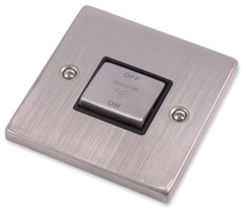 Stainless Steel Fan Isolator Switch - Black Insert - Single - 1 Gang