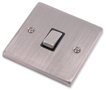 Stainless Steel 20A DP Switch - Black Insert - Without Flex Out