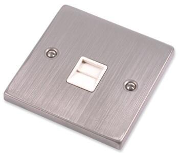 Stainless Steel Phone Socket - White Insert - Sinle Master
