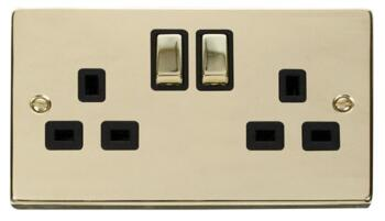 Polished Brass Double Socket -Ingot 2Gang Switched - With Black Interior