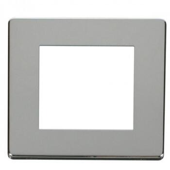 Screwless Chrome Single Plate Twin Aperture - With Black Interior