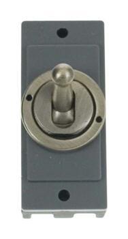 Mini Grid 2 Way 10AX Toggle Switch Module - Antique Brass
