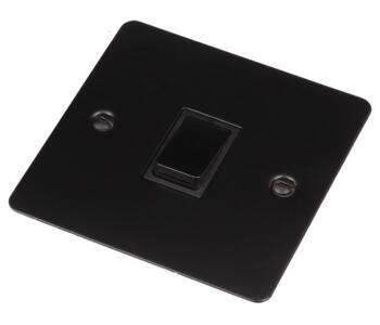 Flat Plate Matt Black Light Switch  - Single 1 Gang