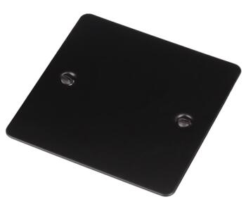 Flat Plate Matt Black Blank Plate - Single 1 Gang - Single