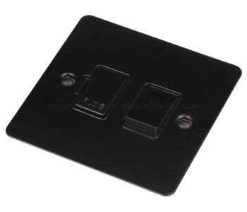 Flat Plate Matt Black Fused Spur 13A - Switched With Black Interior